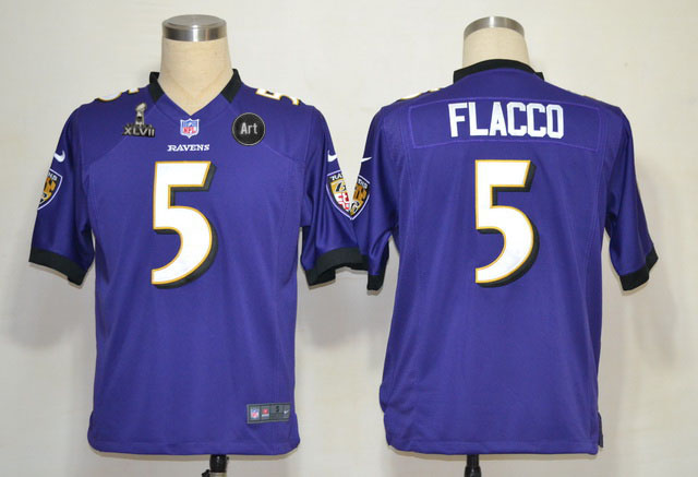 Nike Ravens 5 Flacco purple Game 2013 Super Bowl XLVII and Art Jerseys