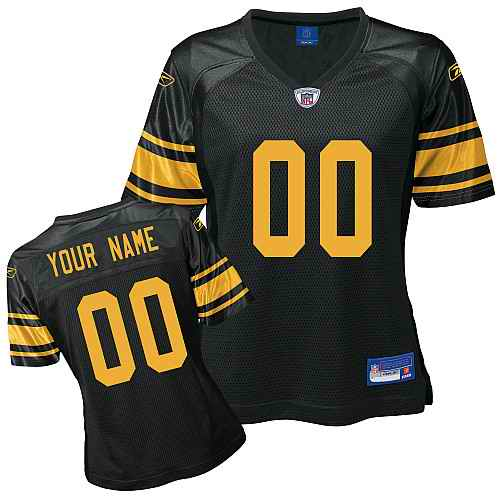 Pittsburgh Steelers Women Customized Black Yelow Number Jersey