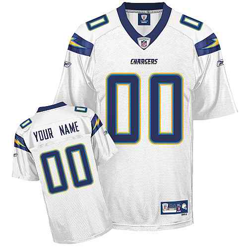San Diego Chargers Men Customized White Jersey
