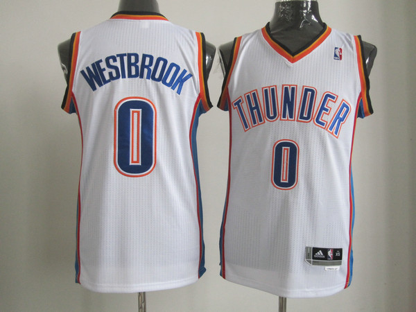 Thunder 0 Westbrook White AAA Jerseys