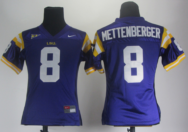 Women LSU Tigers 8 Zach Mettenberger Purple Jerseys