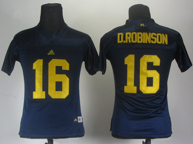 Women Michigan Wolverines 16 Denard Robinson Blue Jerseys
