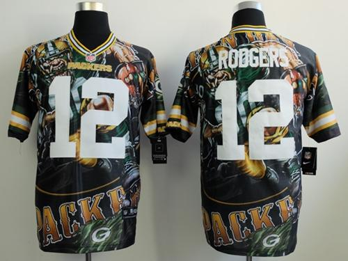 Nike Packers 12 Rodgers Stitched Elite Fanatical Version Jerseys