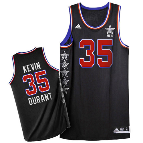 2015 NBA All Star NYC Western Conference 35 Kevin Durant Black Jerseys
