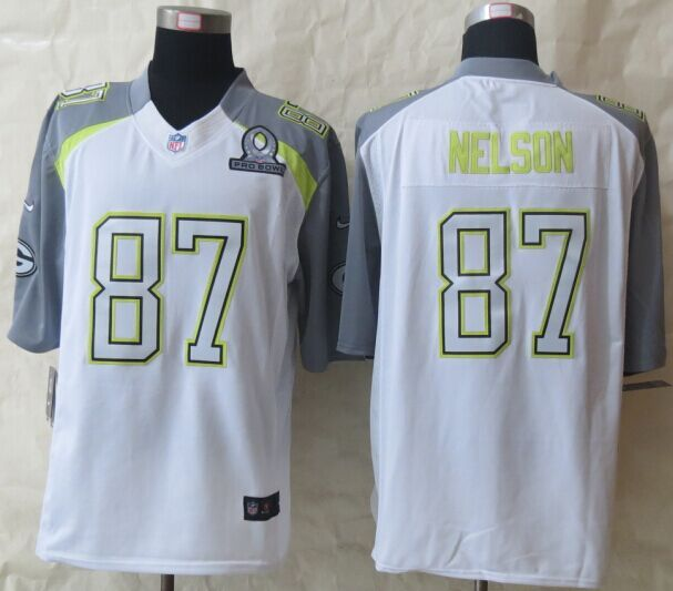 Nike Packers 87 Nelson White 2015 Pro Bowl Game Jerseys