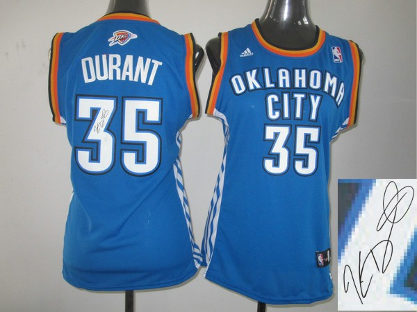 Thunder 35 Durant Blue Signature Edition Women Jerseys