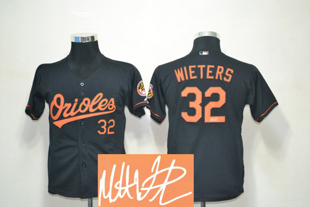 Orioles 32 Wieters Black Signature Edition Youth Jerseys