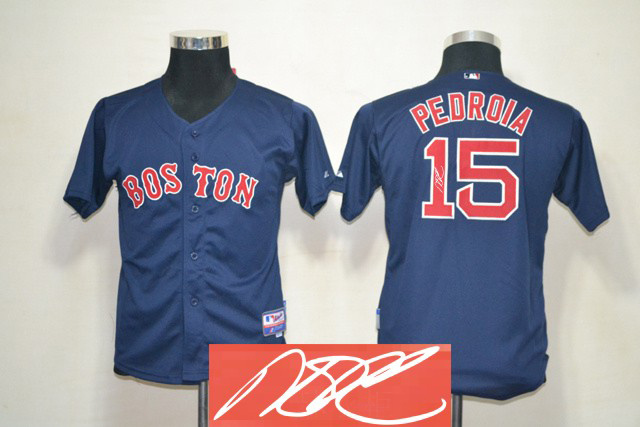 Red Sox 15 Pedroia Blue Signature Edition Youth Jerseys