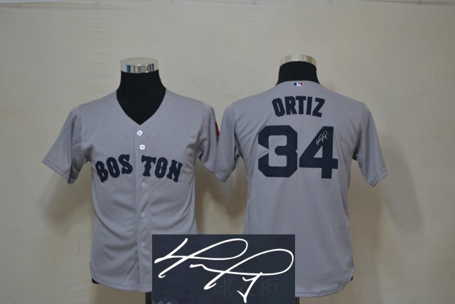 Red Sox 34 Ortiz Grey Signature Edition Youth Jerseys