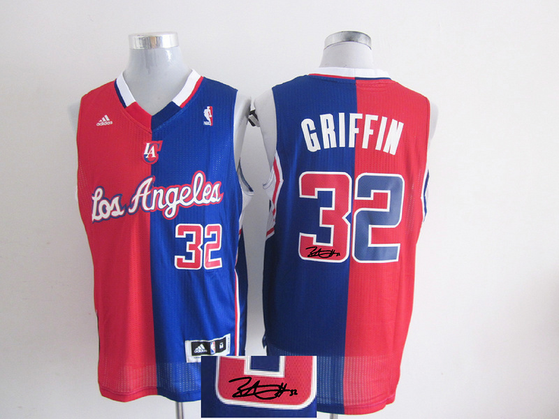 Clippers 32 Griffin Red & Blue Split Signature Edition Jerseys