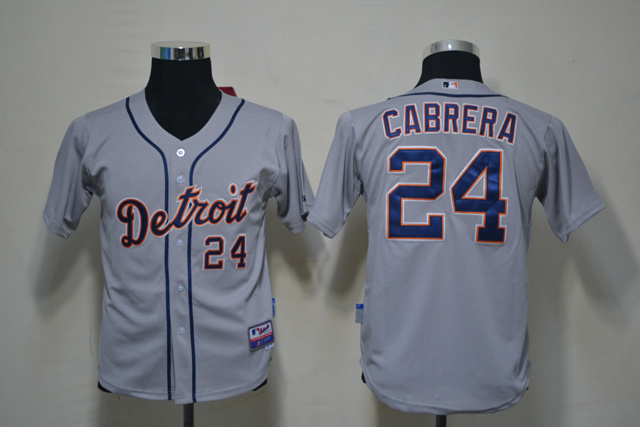 Tigers 24 Cabrera Grey Youth Jersey